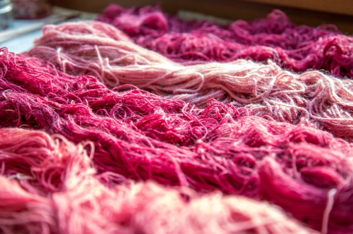 Wool dyed with cochineal.